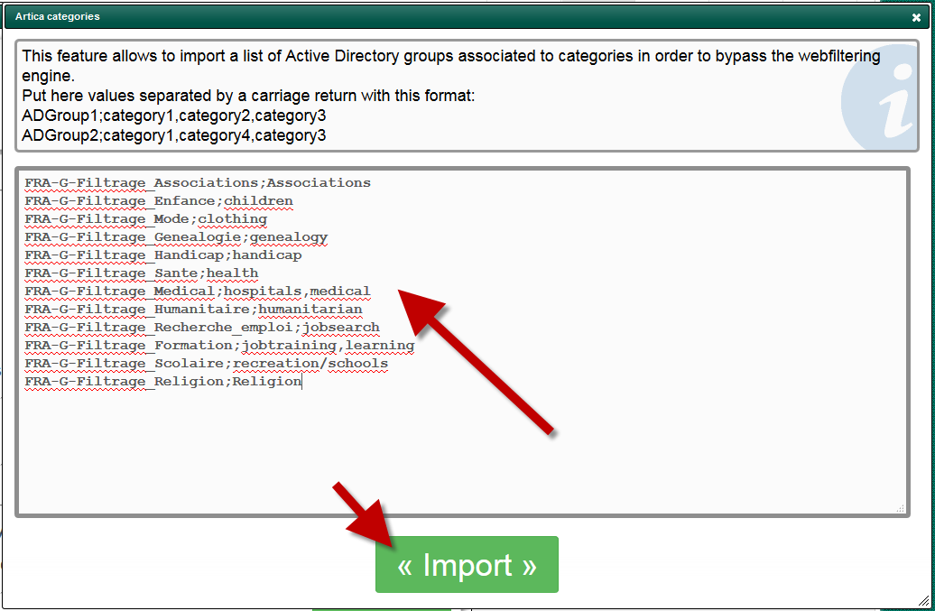 Import Active Directory groups and categories  – Artica Proxy