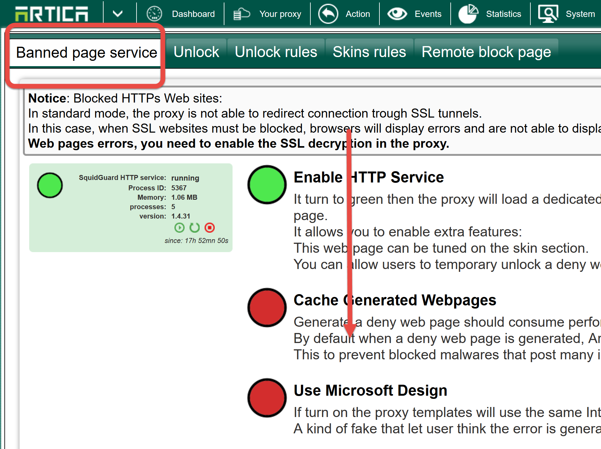 Change the Webfiltering error page address  | Artica Proxy